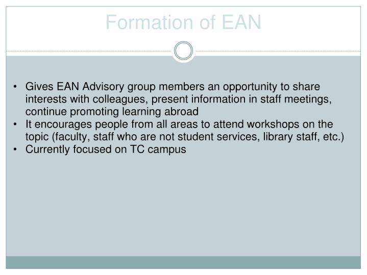Formation of EAN