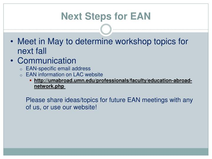 Meet in May to determine workshop topics for next fall