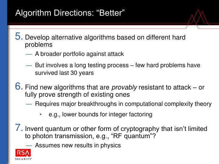 "Algorithm Directions: ""Better"""