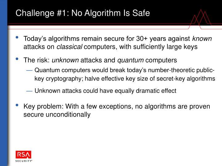 Challenge #1: No Algorithm Is Safe