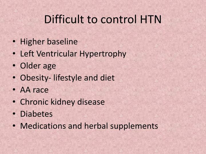 Difficult to control HTN