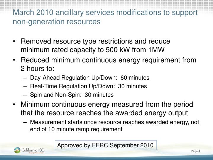 March 2010 ancillary services modifications to support non-generation resources