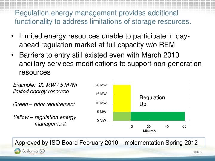 Regulation energy management provides additional functionality to address limitations of storage resources.