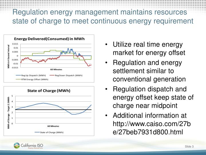 Regulation energy management maintains resources state of charge to meet continuous energy requirement