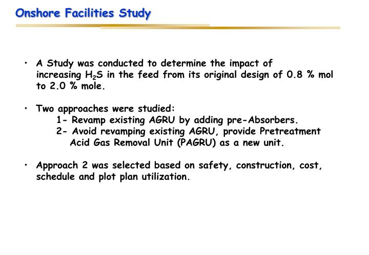 Onshore Facilities Study