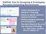 dapple tool for designing prototyping pervasive computing environments