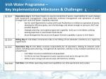 irish water programme key implementation milestones challenges