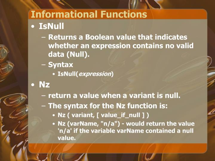 Informational Functions
