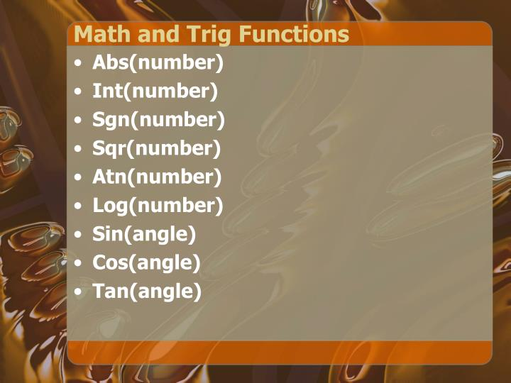 Math and Trig Functions
