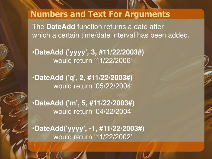 Numbers and Text For Arguments