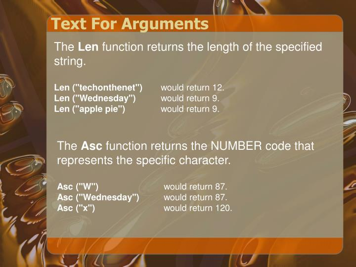 Text For Arguments