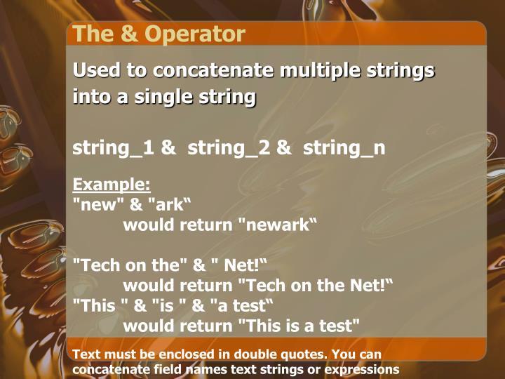 The & Operator