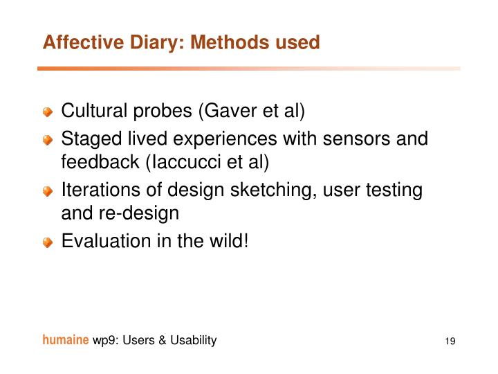 Affective Diary: Methods used
