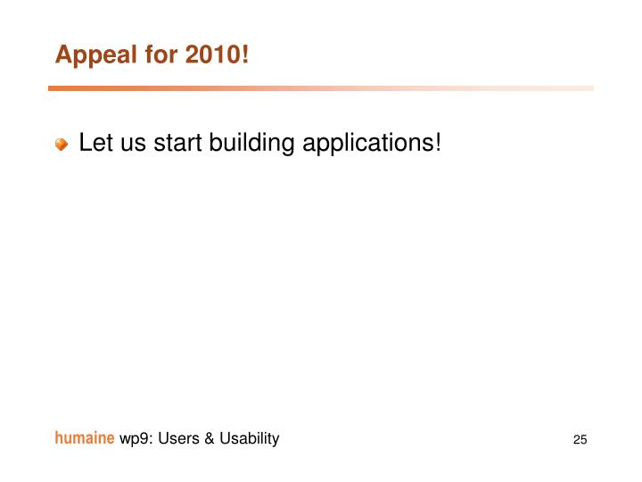 Appeal for 2010!