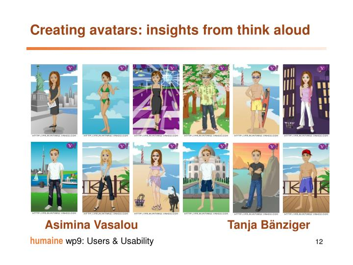 Creating avatars: insights from think aloud
