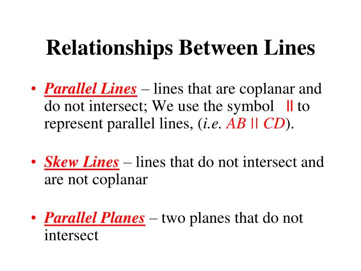 Relationships between lines