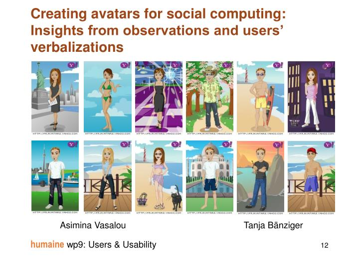 Creating avatars for social computing: Insights from observations and users' verbalizations