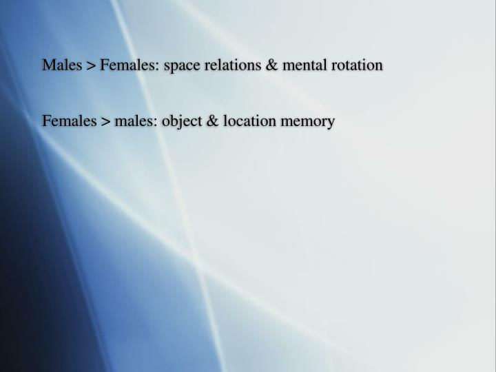 Males > Females: space relations & mental rotation