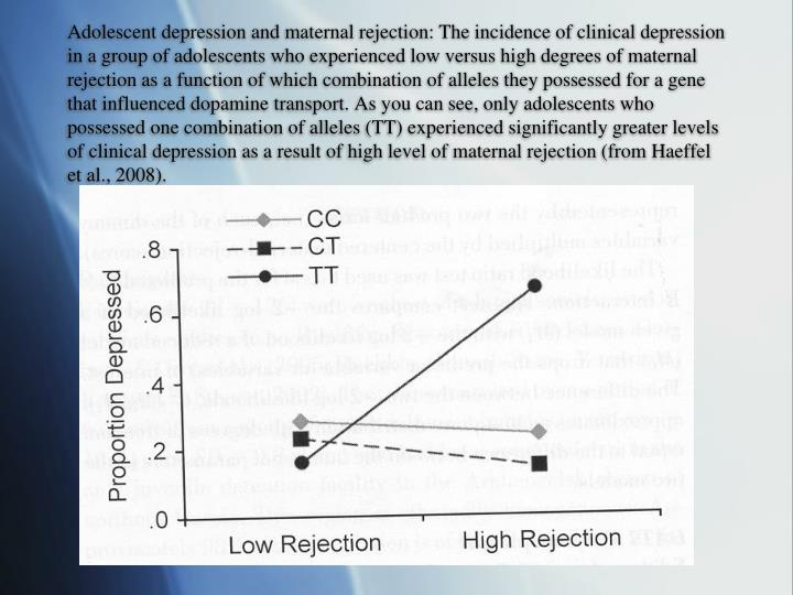 Adolescent depression and maternal rejection: The incidence of clinical depression in a group of adolescents who experienced low versus high degrees of maternal rejection as a function of which combination of alleles they possessed for a gene that influenced dopamine transport. As you can see, only adolescents who possessed one combination of alleles (TT) experienced significantly greater levels of clinical depression as a result of high level of maternal rejection (from Haeffel et al., 2008).