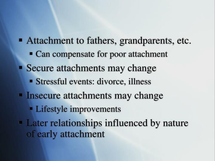 Attachment to fathers, grandparents, etc.