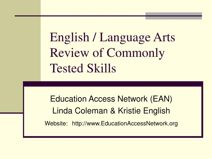english language arts review of commonly tested skills