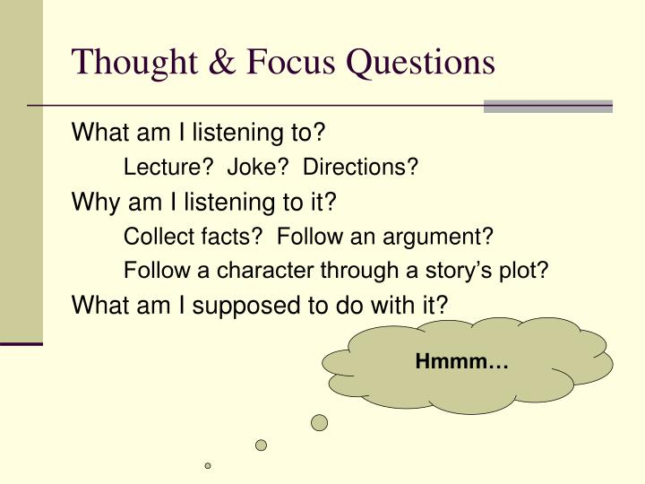 Thought & Focus Questions