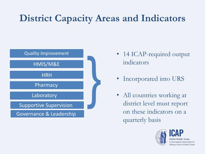 District Capacity Areas and Indicators