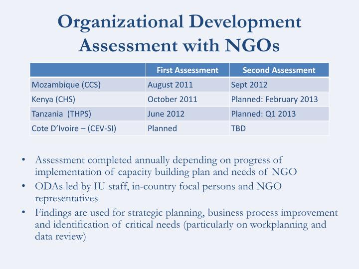 Organizational Development Assessment with NGOs