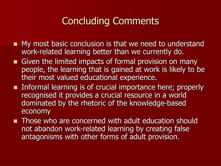Concluding Comments