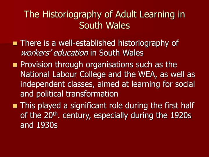 The Historiography of Adult Learning in South Wales
