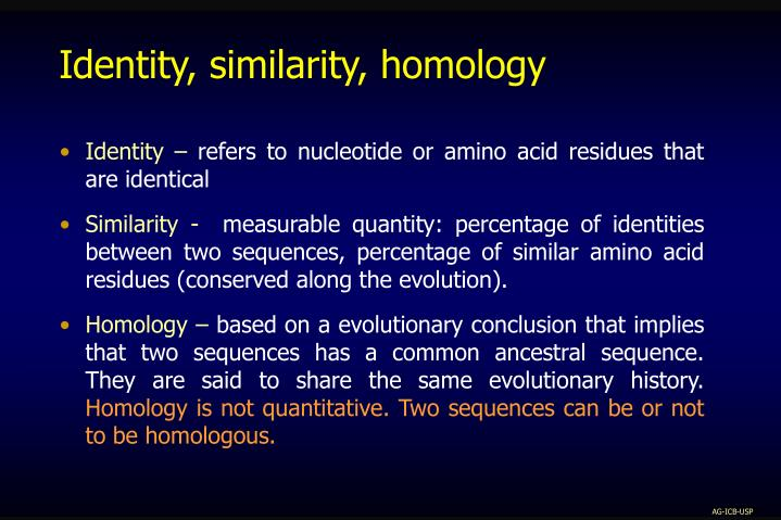 Identity, similarity, homology