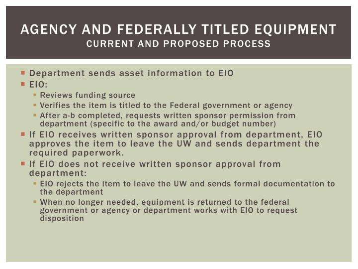 Agency and Federally Titled Equipment