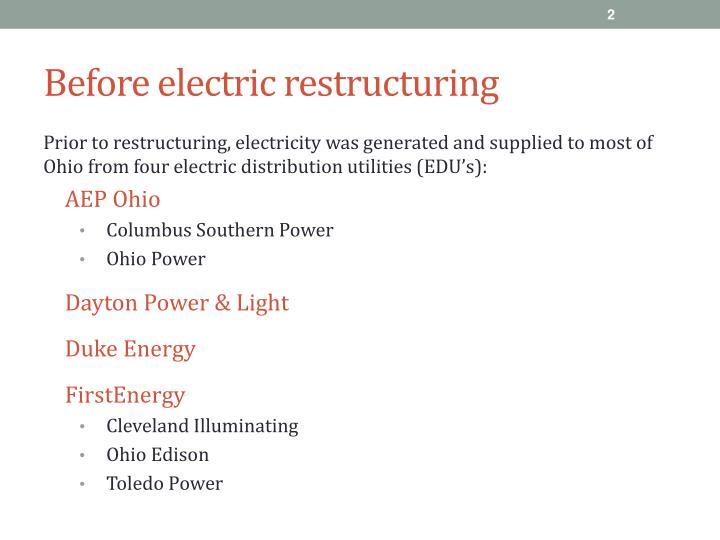 Before electric restructuring