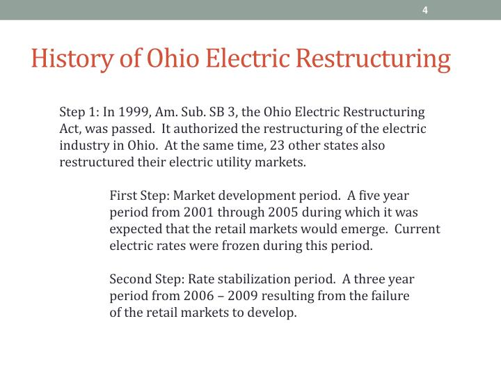 History of Ohio Electric Restructuring