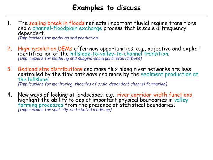 Examples to discuss