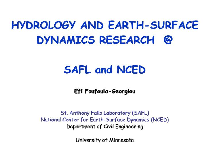 HYDROLOGY AND EARTH-SURFACE DYNAMICS RESEARCH  @