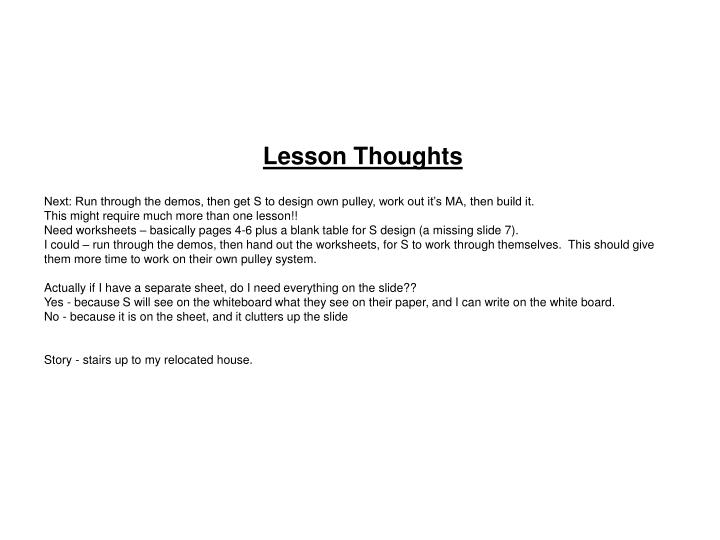 Lesson Thoughts