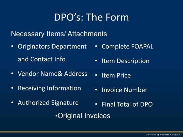 DPO's: The Form
