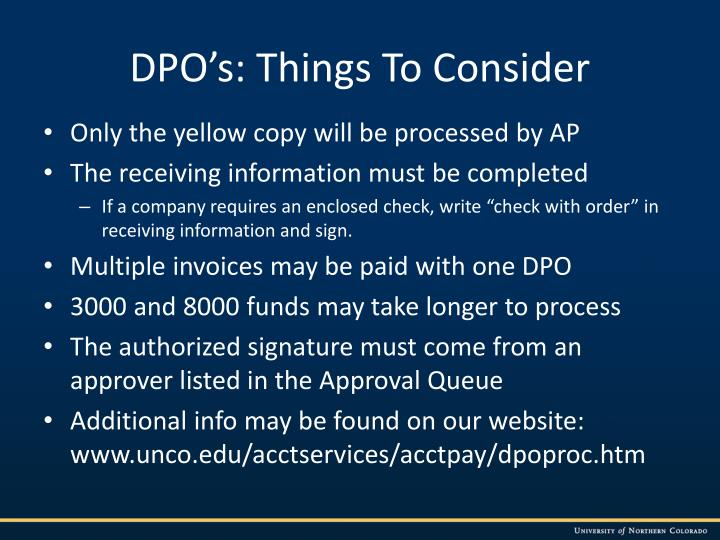 DPO's: Things To Consider