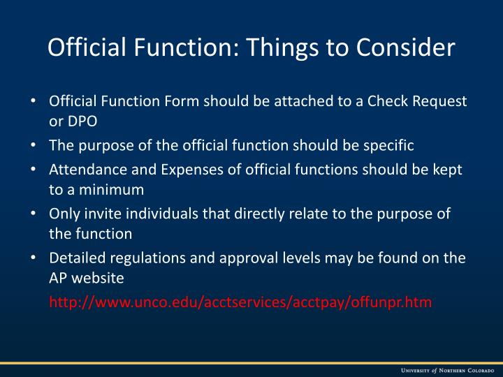 Official Function: Things to Consider