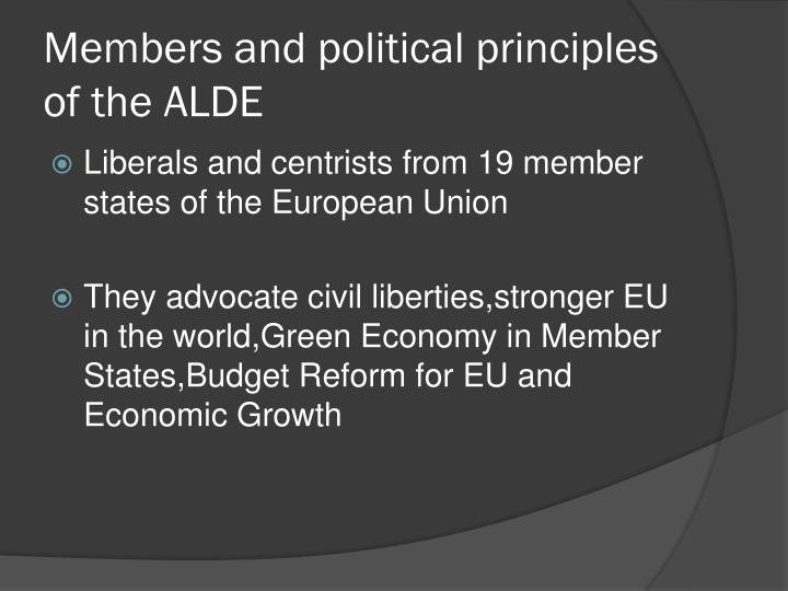 Members and political principles of the ALDE