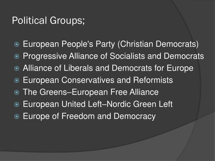 Political Groups;