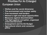 priorities for an enlarged european union