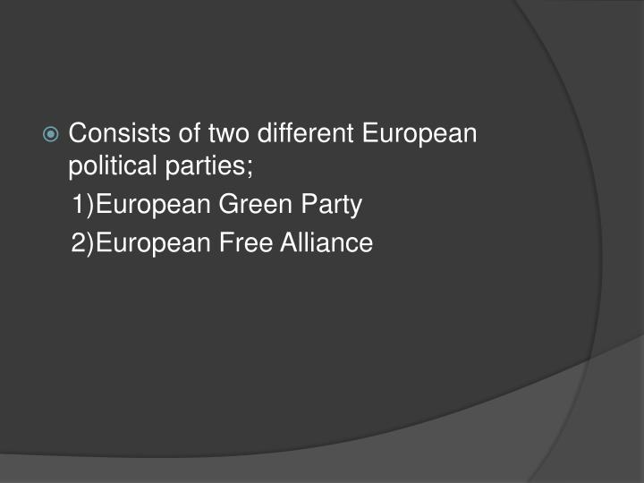 Consists of two different European political parties;
