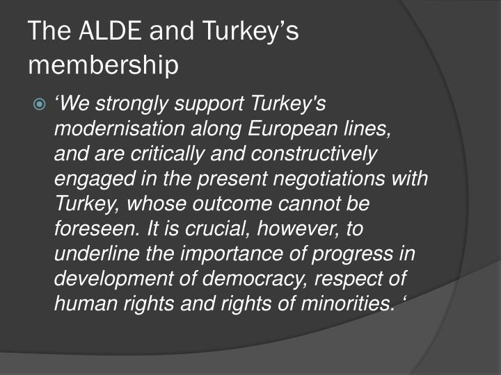 The ALDE and Turkey's membership