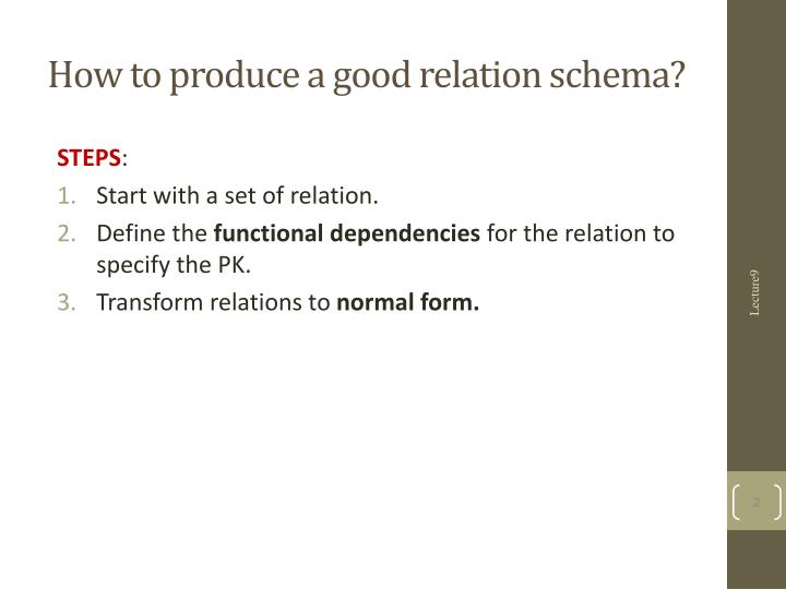 How to produce a good relation schema?
