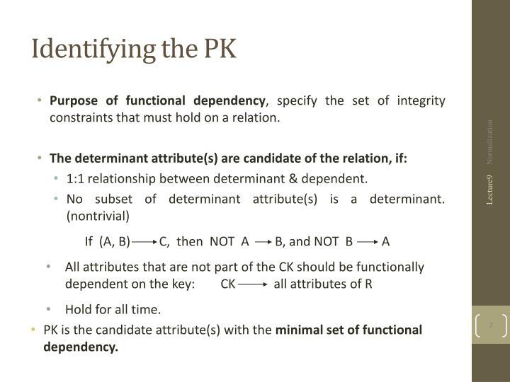 Identifying the PK