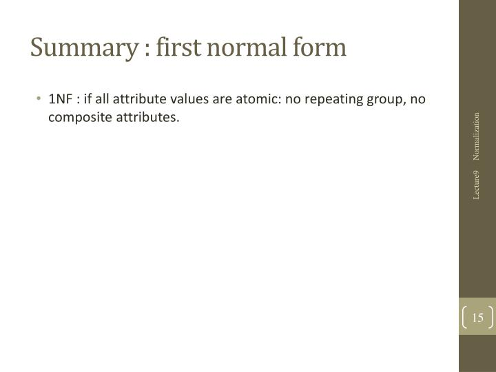 Summary : first normal form