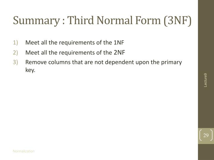 Summary : Third Normal Form (3NF)