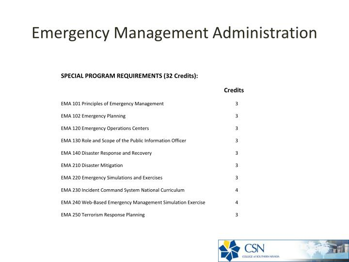 Emergency Management Administration